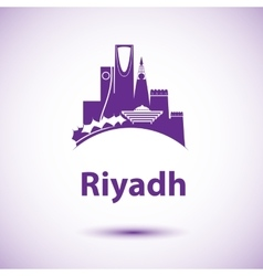 Riyadh skyline Greatest landmarks as vector image