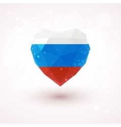 Russian flag in shape diamond glass heart vector image