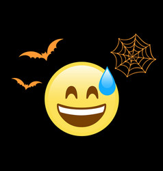 scary face flat icon with sweat flying bat and vector image