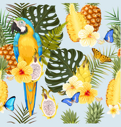Seamless macaw pineapple and flowers vector