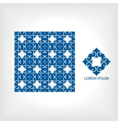 Seamless pattern of blue and geometric vector