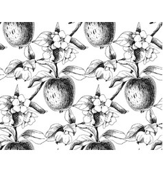 seamless pattern with apple branches vector image