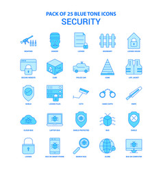 security blue tone icon pack - 25 icon sets vector image