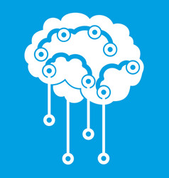 Sensors on human brain icon white vector