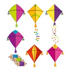 Set makar sankranti kites to festival celebration vector