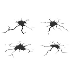 Set of cracks in ground isolated on white vector
