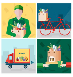 set on delivery food theme courier bicycle vector image
