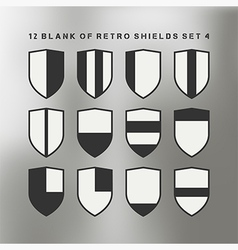 Set shields black and white vector