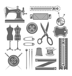 sewing accessories and tailor shop elements vector image