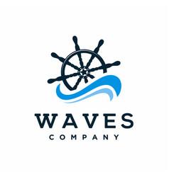 Ship steering wheel with waves logo design vector