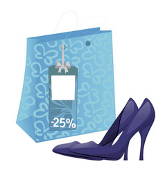 Shoe package and pair of high-heel shoes vector