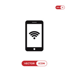 smartphone with wifi connection icon vector image
