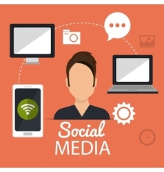 Social media and networking design vector image