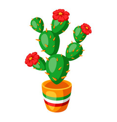 Spiny cactus with flowers vector