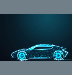 Sport car wire model with blue neon on dark vector