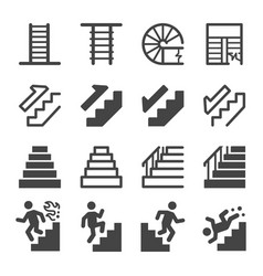 Stairs icon set vector