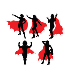 Super girl silhouettes vector