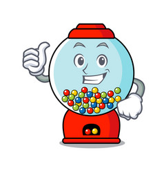 Thumbs up gumball machine character cartoon vector