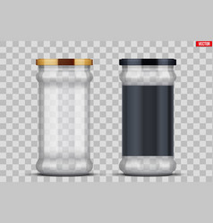 Transparent glass jars for canning and preserving vector
