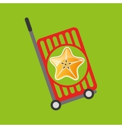 trolley shop juicy star carambola fruit vector image