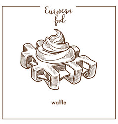 Waffle sketch icon for european food cuisine cafe vector