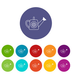 watering can icons set color vector image