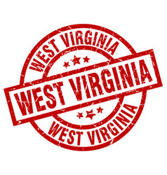 West virginia red round grunge stamp vector