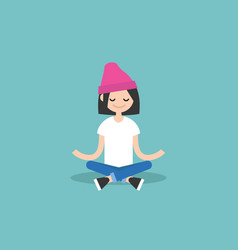 Young girl meditating with closed eyes in lotus vector