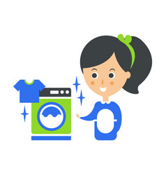 cleanup service maid and washing machine laundry vector image vector image