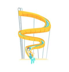 Yellow plastic slide equipment for water park vector