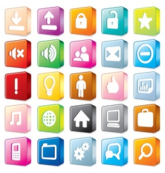 3D colorful interface icons vector image