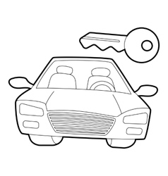 Car and key icon isometric 3d style vector image vector image