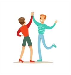 Happy Best Friends Giving Each Other High Five vector image vector image