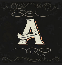 retro style western letter design letter a vector image vector image