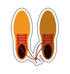 cartoon april fool shoelaces tied image vector image