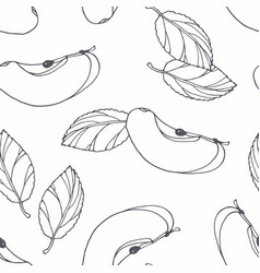 hand drawn outline seamless pattern with apple vector image vector image