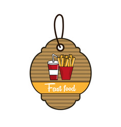 label fast food french fries and soda icon vector image vector image