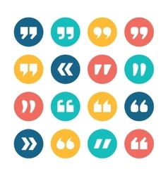 Quote marks flat circle icons set vector image