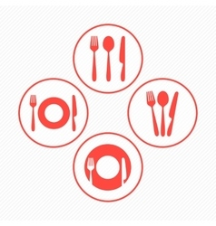 Red restaurant icons set vector image