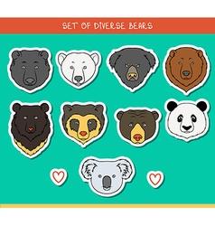 Set 9 muzzles stickers bears handmade linear style vector