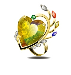 Stunning ring with heart shape diamond and gems vector image