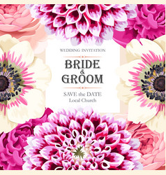 wedding invitation with flowers vector image vector image