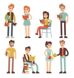 women and men reading books people readers vector image vector image