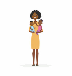 young african father with babies - cartoon people vector image