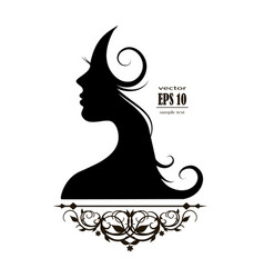 beautiful female silhouette profile vector image vector image