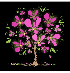 Blossoming tree with pink flowers vector image vector image
