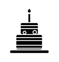 cake birthday icon black vector image