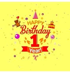 First year anniversary celebration design vector