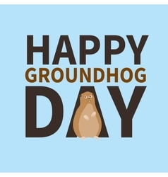 Happy groundhog daylogo icon cute happy Marmot vector image vector image