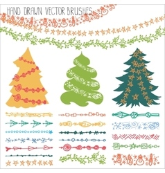 Holiday garland brusheschristmas doodle kit vector